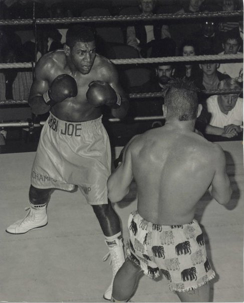 Bobbi-Joe in boxing action when he was younger.